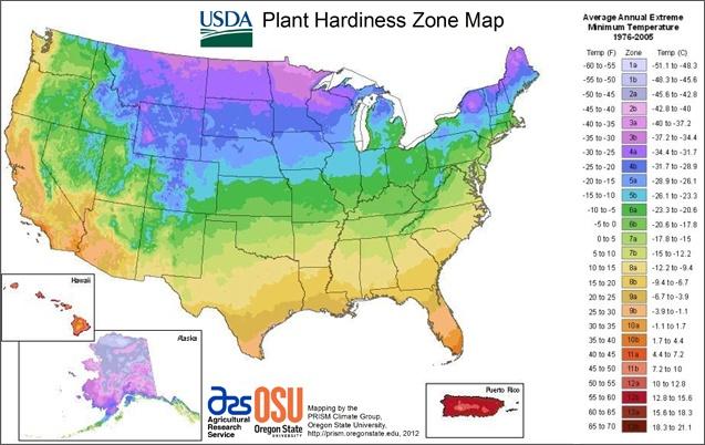 plant hardiness zone map